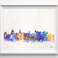 Rome Skyline, Italy, Watercolor, Poster, Italian, Print, Bedroom, Cityscape, City Painting, Illustration Art, Europe [NO 428]