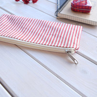 Pencil Pouch, Zipper purse, Cosmetic cases, Pencil case, Make Up Pouch, Charger bag, Project bag, Travel bag, Gift, Bridal purse, striped