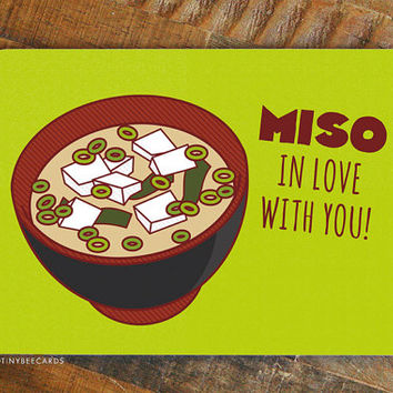 "Foodie Valentine Card ""Miso in Love With You!"" - Miso soup card, Valentine's day, card for significant other, anniverary card, i love you"