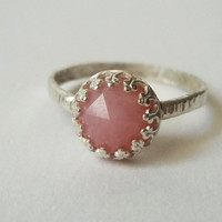 Pink Opal Ring, Sterling Silver Handforged Ring, Hammered Silver, Rose Cut, Pink Gemstone Cocktail Ring, Pink Andean Opal