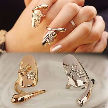 Charming Jewelry Dragonfly Pattern Rhinestones Inlaid Flower Shaped Finger Tip Nail Ring RING-0228