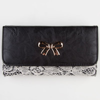 Bow Lace Overlay Wallet Black One Size For Women 21203310001