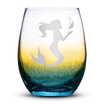 Premium Stemless Wine Glass, Mermaid #1, Crackle Ombre, Handblown, Holding Sea Shell, Hand Etched Gifts, Sand Carved by Integrity Bottles