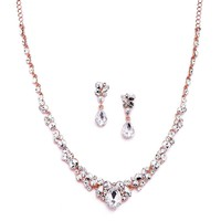 Glamorous Blush Rose Gold Crystal Necklace & Earrings Jewelry Set for Wedding, Prom & Bridesmaids