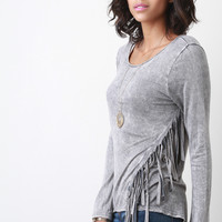 Western Flair Fringe Long Sleeve Top