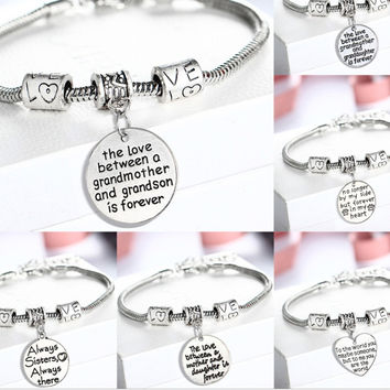 Family Gifts Mom Best Friend Grandmother Sister Bangle Bracelets Sweet Love Heart Charm Bracelet & Bangle For Women Girl
