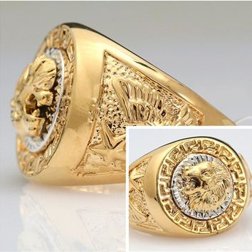 $6.99 Fashion Rings For Men Lion Eagle Star Gold-color Size 8-12  FREE SHIPPING!!!!