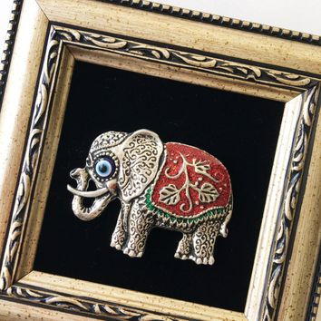 Framed wall décor - red elephant wall art - evil eye wall hanging - evil eye bead
