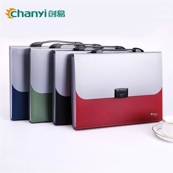 Chuangyi A4 File Folder 13 Index Pockets Layers Document Study Working Metallic color Expanding Wallet Organizer School Bag