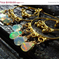 30% OFF SALE fire opal earrings, Brazilian jewelry