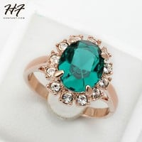 Green Rhinestone Emerald Ring 18K Rose Gold Plated Crystal Fashion Imitation Gemstone Anniversary Jewelry For Women anel R088