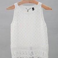 BKE Boutique Lace Hem Tank Top