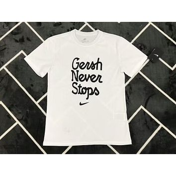Nike Popular Unisex Letter Print Sports Short Sleeve Pure Cotton T-Shirt Top White I-AA-XDD