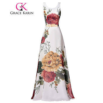 Grace Karin Flower Pattern Floral Prom Dresses Sleeveless Floor Length Long Party Dress Chiffon Elegant Formal Evening Gown 2017