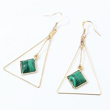 ES223 Big Triangle Drop Earrings Fashion boucle d'oreille Women Dangle Brincos Geometric Stone Steampunk Ear Jewelry