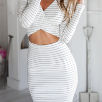 Stripe Crossover Cutout Dress