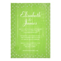 Lime Rustic Country Barn Wood Wedding Invitations