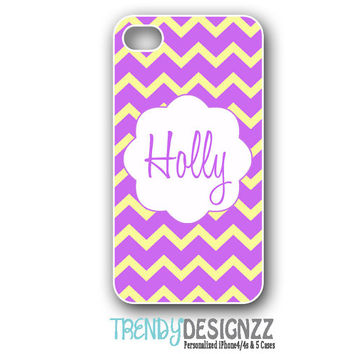 iPhone case, Personalized iPhone case, iPhone 4 case, iPhone 5 case, Samsung S3 S4 cover, Purple Yellow Chevron, iPhone Cover (1140)