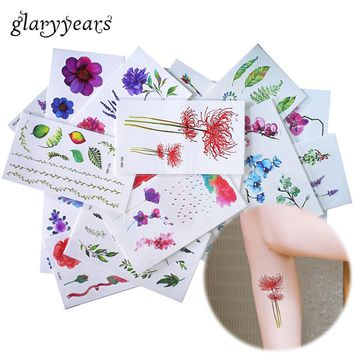 glaryyears 25 Designs X 1 Sheet Colored Flower Tattoo Body Temporary Tattoo Peony Makeup Arm Hand Leg Art Sticker Green Leaf DIY