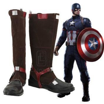 Captain America Avengers Age of Ultron Boots Cosplay Halloween Party Shoes Custom Made
