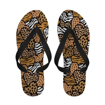 Blue contour girly animal print hearts sandals