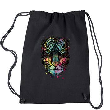 Neon Tiger Head Drawstring Backpack