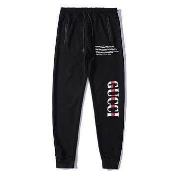 GUCCI Fashion Women Men Comfortable Print Drawstring Sport Pants Trousers Sweatpants Red I-A-KSFZ