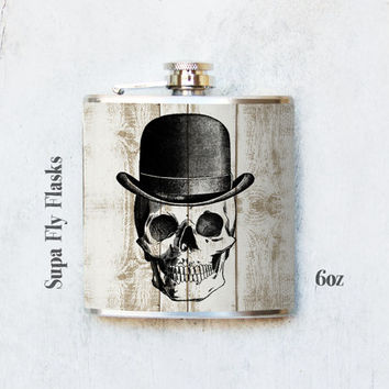 Skull Flask - Stainless Steel Flasks - Skull Vintage Style - Flask - Hip Flask - Pocket Flask - Tipsy Flask (166)