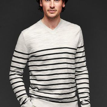 Gap Men Stripe Merino Slub V Neck Sweater Slim Fit