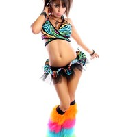 Rainbow Zebra Ibiza Outfit : Complete Rave Outfit with TuTu and Fluffies