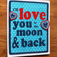 "Fabric Nursery Wall Art, I Love You To The Moon and Back 10"" x 12"", Baby Decor Ideas, Wall Hanging, Typography Art, Boys Room, Girls Room"