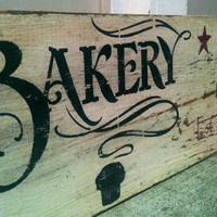 Farmhouse ,Reclaimed wood,Painted wood sign,Kitchen Art , Bakery, Old Sign, Vintage, Cafe, Barn Wood, Wood Sign, Home Decor