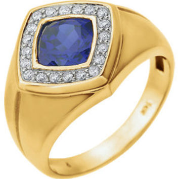 14K Yellow Men's Created Blue Sapphire & .025 CTW Diamond Ring