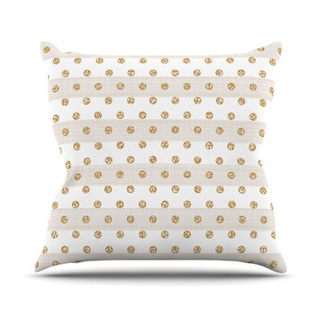 "Pellerina Design ""Linen Polka Stripes"" Gold Dots Throw Pillow"