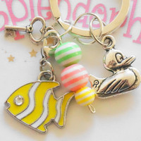 accessory for girls ,  Cute Keychain  Accessory , Yellow&White Fish Charm, Silver Duck , Little Key,  Keychain,Gift,Friend,Sister ,Girls