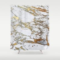 Gold Marble Shower Curtain by Jenna Davis Designs