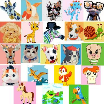 Animal Prints DIY Kids Paint By Numbers Kit: Includes Acrylic Paints, Brushes and Canvas with Frame Option