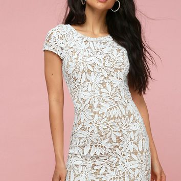 Right Sheer, Right Now White Lace Bodycon Dress