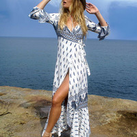 Bohemian Printed Long Sleeve Front Slit Sexy Maxi Dress