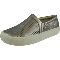 Old Soles 1030 Girl's and Boy's Silver Sporty Hoff Breathable Leather Loafers Sneaker Shoe