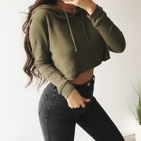 Avery Cropped Hoodie(Olive)
