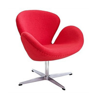 Modern Curved Swivel Chair in Red