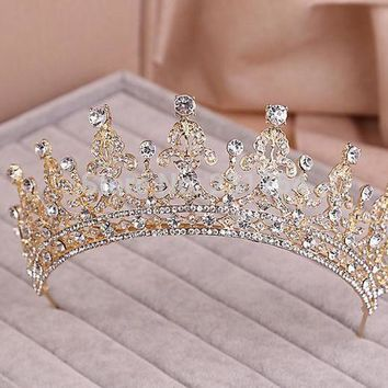 MDIGUS4 Red/Clear Wedding Bridal Crystal Tiara Crowns Princess Queen Pageant Prom Rhinestone Veil Tiara Headband Wedding Hair Accessory