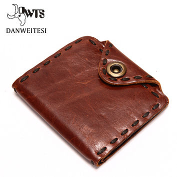 New High Quality 100% Genuine Leather Wallet Men Wallets Vintage Organizer Purse Billfold Coin men clutch