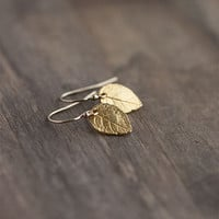Tiny Gold Leaf Earrings / Mini Leaves in 24K Gold Vermeil and 14K Gold Filled