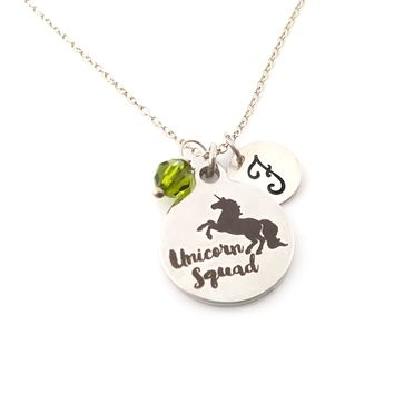 Unicorn Squad Charm Personalized Sterling Silver Necklace