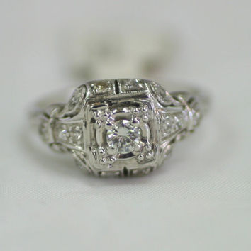 Vintage 1930s or 1940s Platinum Diamond Engagement Ring