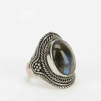 Vesuvius Stone Etched Ring - Silver 8