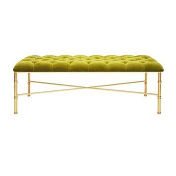 STELLA GOLD LEAFED BAMBOO BENCH | Lime Green