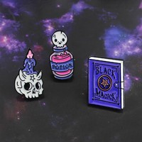 Skeleton Candle Death Potion Black Magician Brooch Skull Elf Magic Witch Enamel Brooch Leather Lapel Badge Friends Family Gifts